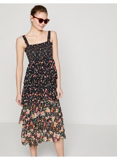 Koton Askılı Çiçekli Fırfırlı Elbise Siyah